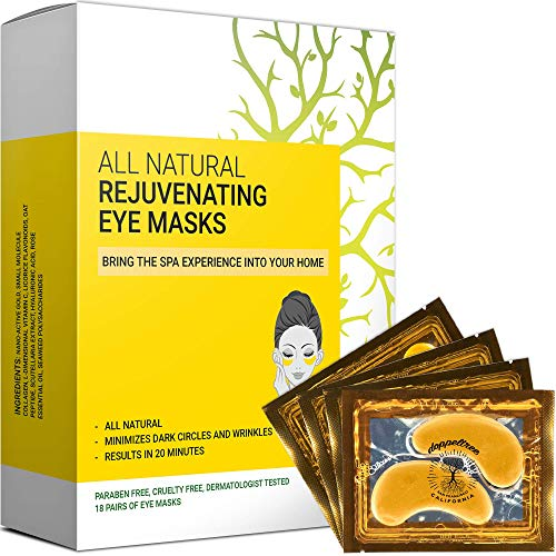 All Natural Under Eye Patches & Masks (18 Pairs) - Anti Aging Treatment for Bags, Puffiness, Wrinkles, & Dark Circles - 24K Gold, Collagen, Hyaluronic Acid, Hydrogel - Formulated in San Francisco