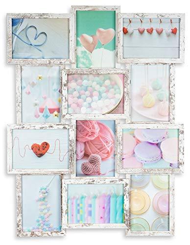 levandeo Bilderrahmen Collage 51x68cm 12 Fotos 13x18cm Shabby Chic MDF Holz Glas Vintage Landhausstil fertig montiert Wanddeko