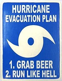 Hand Carved Wooden HURRICANE EVACUATION PLAN, GRAB BEER RUN LIKE HELL Sign
