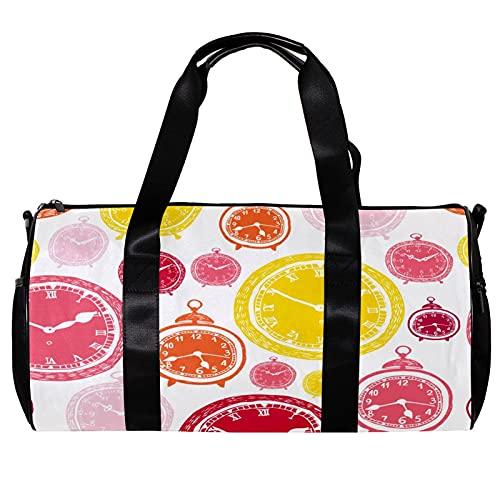 Seesack für Damen und Herren, Birght-Farbe, Gelb / Pink, Uhr-Muster, Sport, Fitnessstudio, Tragetasche, Wochenende, Übernachtung, Reisetasche, Outdoor-Gepäck, Handtasche