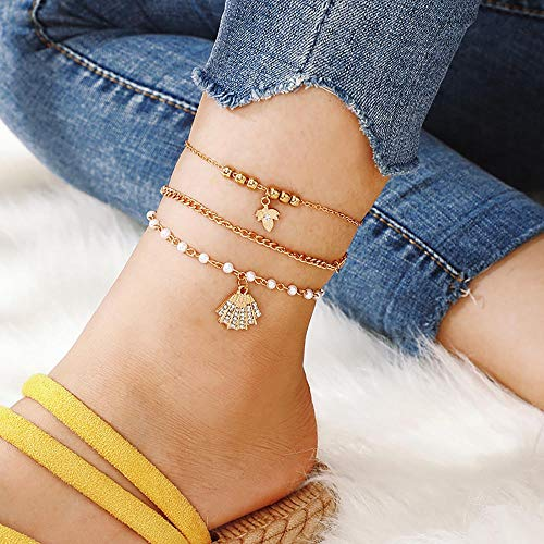 Edary Boho Seashell Anklet Gold Leaf Enkel Armband Parel Accessoires Beaded Voet Sieraden voor Vrouwen en Meisjes (3St)