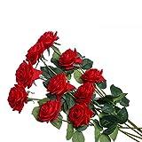 U'Artlines Lot de 10 Rose Fleurs Artificielles Roses pour Bouquet de Mariage Décorations pour La Maison en Rouge