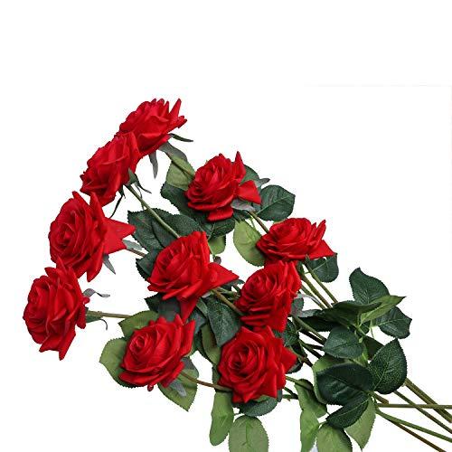 U\'Artlines 10 STÜCKE Künstliche Blumen Rosen,Kunstblumen Rosen Einzelner Stiel Brautstrauß,Gefälschte Rose für Hochzeit(Rot)