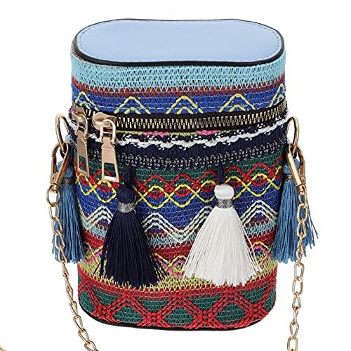 Amosfun Bolso cruzado étnico cruzado de hombro, cubo cilíndrico, bolso para mujer, estilo étnico, monedero con borlas, bolso cruzado, color, talla 16X1 3X 6,5 CM