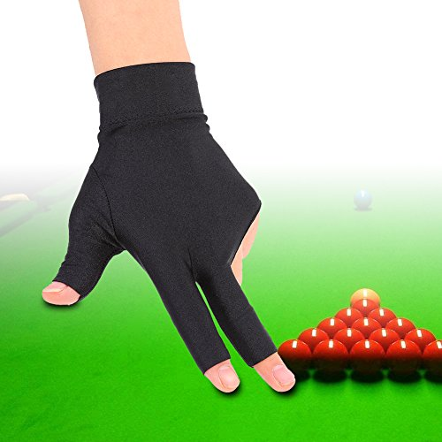 Tbest Billard Handschuh Links Snooker Billard Pool Handschuhe Linke Hand, 3 Finger Billard Handschuh Snooker Queue Handschuhe Spandex Handschuh Billard Zubehör für Mann Frau