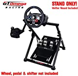 GT Omega APEX Racing Wheel Stand for Logitech Fanatec Clubsport Thrustmaster Gaming Steering Wheel Pedal & Shifter Mount, TX T500 T300 G29 G920 PS4 Xbox, Foldable & Tilt-Adjustable for Racing Console