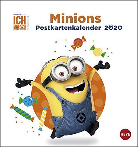 Minions Postkartenkalender. Postkartenkalender 2020. Monatskalendarium. Spiralbindung. Format 16 x 17 cm