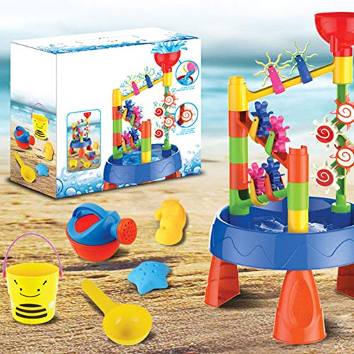 Juego de juguetes para mesa de arena y agua para niños, juego de juguetes para la playa, juego de juguetes para la arena: el molino de viento de agua o arena girará