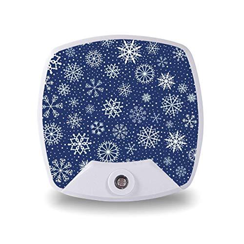 Lámpara LED de noche con sensor inteligente de atardecer a amanecer, feliz, Navidad, azul, copo de nieve, lámpara blanca cálida, para niños y escaleras, pasillo, cocina, dormitorio