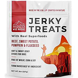 Wild Nature Beef Jerky Dog Treats – Healthy Beef Jerky Sticks with Superfoods Made in The USA – Premium Soft Dog Jerky Treats No Wheat, Corn or Soy for Medium Dogs, Large, and Small