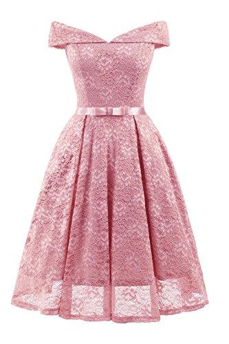 Babyonlinedress® Damen Spitzenkleid Vintage 50er Jahr Kleid Party Cocktailkleider Abendkleid Rosa S