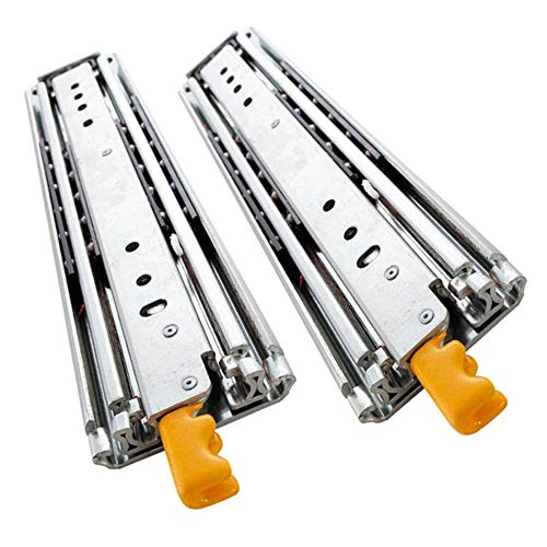 TRGCJGH Ball Bearing Drawer Guides with Locking Function, 3-Part Fully Extended Drawer Guides with High Load Capacity, Load Capacity 220 Kg,24in=60.96in