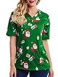 SATINIOR Women Mock Wrap Top Holiday Christmas Print V Neck Shirt, Christmas Green (XX-Large)