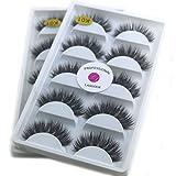 2Box/Lot 3D Mink False Eyelashes LASGOOS Siberian Luxurious Dram in Natural Look Cross Thick Long 10 Pairs Fake Eye Lashes Extensions K01