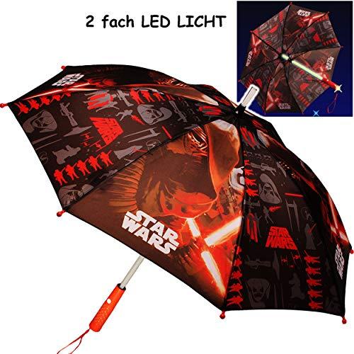 alles-meine.de GmbH Kinderschirm / Regenschirm _ LED Licht Farbwechsel + Taschenlampe _ Star Wars - Ø 85 cm - groß / Stockschirm mit Griff - Kinder - Automatikregenschirm - für J..