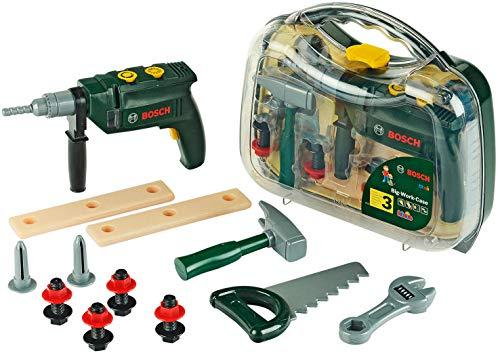 Theo Klein 8416 Bosch Werkzeugkoffer, groß I 16-teiliges Werkzeug-Set I Inkl. batteriebetriebenem Bohrer mit Licht und Sound I Maße: 32 cm x 8 cm x 29 cm