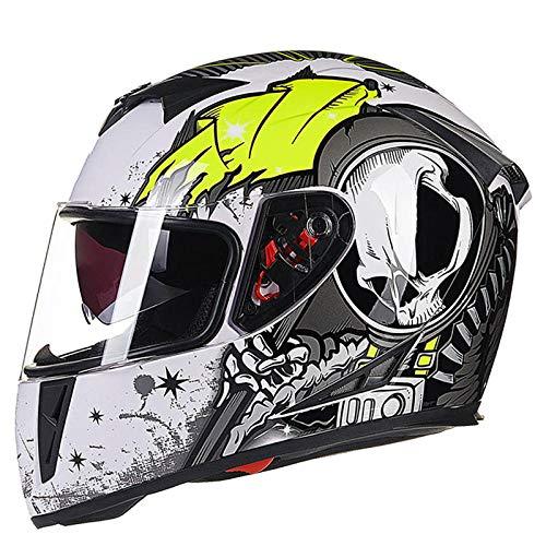 BUETR Motorhelm, volledige bescherming, locomotief, volledige helm, anti-condens, persoonlijkheidshelm, veiligheid, laag gewicht Large wit en groen.