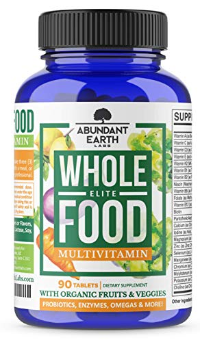 Whole Food Multivitamin Elite - Organic Multivitamin for Men and Women, Non-GMO Multivitamin with Probiotics, Enzymes, B-Complex, Omegas for Daily Energy, Mood, Digestion, Heart Health, 90 Tablets