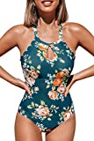 CUPSHE Women's Pink Blue Floral Cutout One Piece Swimsuit Teal Size M