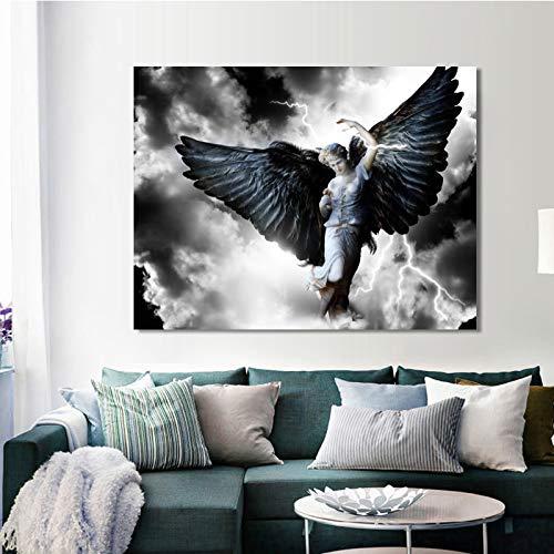 NIMCG Angel Black Wings Mythical Hero Woman Carteles e Impresiones Arte de la Pared Lienzo Pintura Retrato Imagen para la Sala de Estar Decoración del hogar (Sin Marco) R1 20x30CM