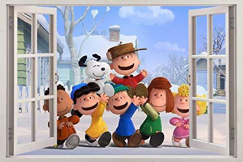 Wandtattoo Peanuts Movie Brown 3D Window Decal Wall Sticker Art