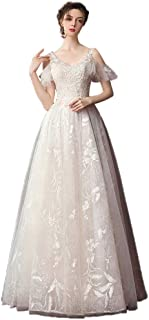 Bride Elegant V-neck Wedding Dress Lace Embroidered Prom Gown Formal Party Tulle Skit beautiful