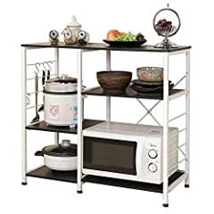Overall size: 35.4L * 15.4W * 32.7H inch, provides large Storage space. Particle wood with smooth finish, waterproof and anti scratch. Hight quality of metal frame better stablize the shelf. Tiers with different height can hold kinds of kitchen acces...