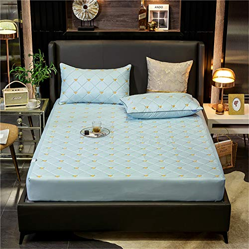 YCDZ Mattress Protective Cover, Anti-allergic, Breathable, Anti-bug and Mites, No Odor, Suitable for All Bed Types (Light blue,180x200x40cm)