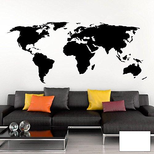 Grandora Wandtattoo Weltkarte Erde Globus Karte I weiß 170 x 75 cm I Welt Atlas Schlafzimmer Wohnzimmer Wandsticker Wandaufkleber W698