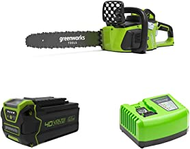 Greenworks Cordless Chainsaw GD40CS40 + 40V Battery G40B6 + Tools Battery Fast Charger G40UC4