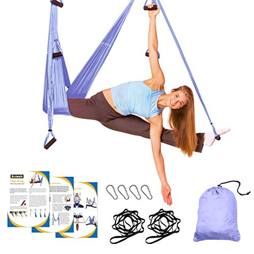 Sotech - Antigravity Yoga Hammock, Yoga Swing Set, Light purple, Daisy Chain 1.2 meters, Dimensione: 250 x 150 cm, Dimensioni piegato: 26 x 24 x 11 cm