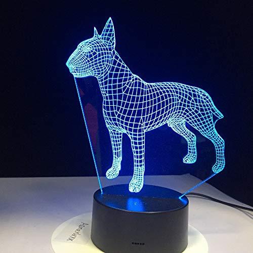 Lâmpada 3D Bull Terrier Dog 7 cores USB Lâmpada Noturna LED para Crianças Aniversário Criativo Bedside Decor Presente