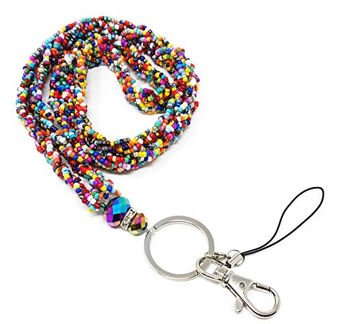 WigsPedia Braided Colored Mini Seed Bead Lanyard with Jeweled Accents with Keychain Key/Id/Cell Phone Holder (Multicolor)