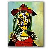YUUWO Pinturas DIY Pinturas De Números Famosos Cuadros Abstractos De Picasso Mujer con Sombrero Sin Marco 40x50cm