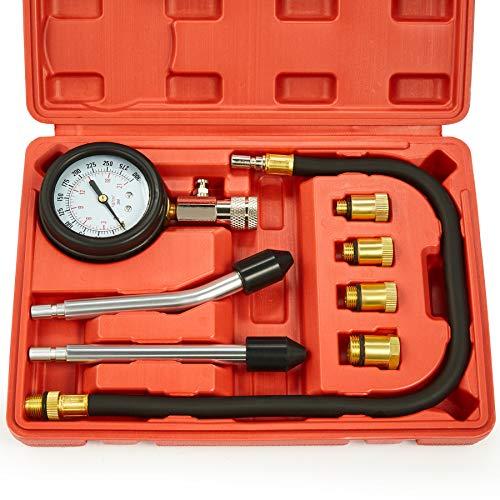 Engine Compression Tester, 8PCS Engine Cylinder Pressure Gauge for Petrol Gas Engine, 0-300PSI Engine Compression Tester Kit