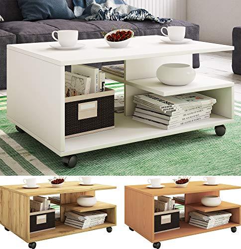 VCM Couchtisch Rollen Sofatisch Wohnzimmertisch rollbar Wohnzimmer Tisch Stango Weiß