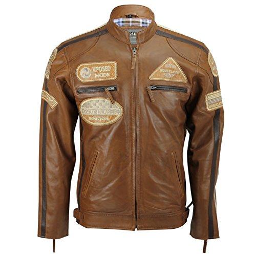 Xposed Chaqueta de piel auténtica para hombre, color marrón coñac con insignias con cremallera, estilo retro