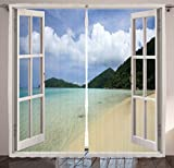 Ambesonne Tropicals Curtains, Open Windows with Tropic Island Beach View and Dreamy Summer Vacation Scenery Design, Living Room Bedroom Window Drapes 2 Panel Set, 108' X 84', Turquoise Green