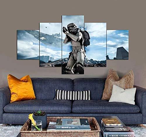 KOPASD Cuadro Moderno 5 Piezas ImpresióN Lienzo Star Wars Película Comando De Pared Arte Pintura para Hogar SalóN Oficina (Sin tamaño de Marco 150x80cm)