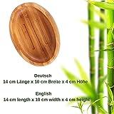 Grüne Valerie ® - Große edle nachhaltige Seifenschale/Seifenhalter/Soap Box Dish/aus Natur Holz (Bad, Dusche, Küche) - gereifter Bambus - 3