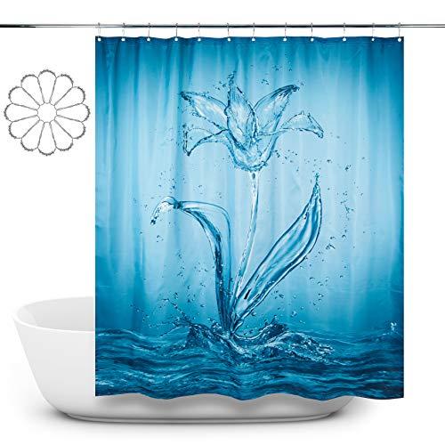Radept Duschvorhang, schimmelresistent, wasserdicht, Polyestergewebe, Duschvorhang, blau, waschbar, 180 x 180 cm, lang, 12 Metallschienenhaken