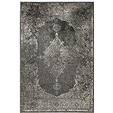 havatex Kunstseide Teppich Vintage Ornament - Anthrazit oder Silber | klassisches Muster modern interpretiert | Ultra leicht, flach & Soft mit edlem Seidenglanz, Farbe:Anthrazit, Größe:160 x 230 cm