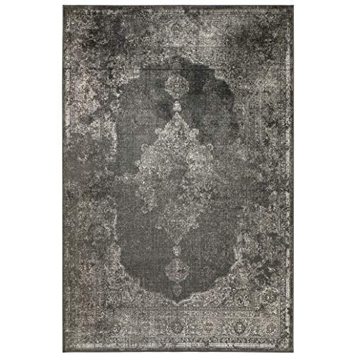 havatex Kunstseide Teppich Vintage Ornament - Anthrazit oder Silber | klassisches Muster modern interpretiert | Ultra leicht, flach & Soft mit edlem Seidenglanz, Farbe:Anthrazit, Größe:120 x 170 cm
