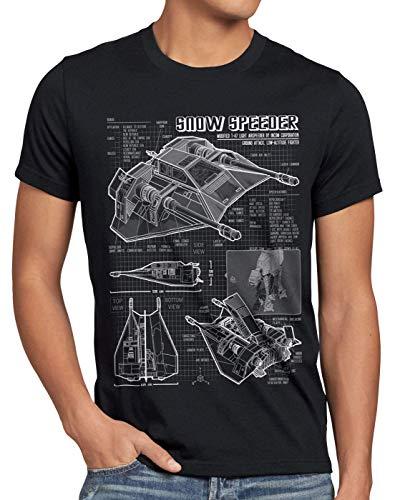 style3 Aerodeslizador T-47 Camiseta para Hombre T-Shirt Fotocalco Azul hoth Snow Speeder, Talla:4XL, Color:Negro