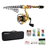 Lixada Kit de Pêche Portable roulements à billes et canne à pêche télescopique 100m ligne de pêche Lures Hooks Pêche leurres Crochet Accessoires de pêche avec sac de pêche