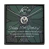 EFYTAL 50th Birthday Gifts for Women, 925 Sterling Silver Floral Sage Necklace for Her, 5 Decade Jewelry 50 Years Old, Best Friend
