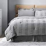 Bedsure Twin Comforter Set 6 Piece Bed in A Bag Toddler Bedding Sets for Baby Stripes Seersucker Soft Lightweight Down Alternative Smoky Grey Bedding Set 68x88 inch