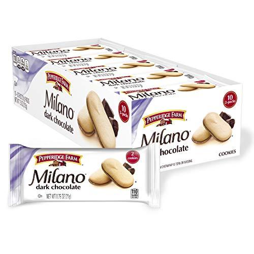 Pepperidge Farm Milano Dark Chocolate Cookies, Multi-Pack Tray, 0.75 Oz (Pack of 10)