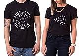 Pizza King Queen Partner Look Pärchen Valentinstag T-Shirt Set, Größe:M;Partner Shirts:Damen T-Shirt Schwarz