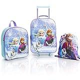 Disney Frozen 2 Kinderkoffer Mädchen Set, Trolley Kinder mit Anna und Elsa, Praktische 3er Set Rucksack Trolley und Kordelzug, Eiskonigin 2 Schule und Reisekoffer Kinder, Grosse Kapazität